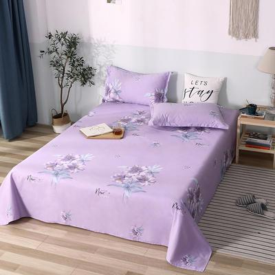 2020新款全棉印花单品床单 160cmx230cm 清丽花香-紫