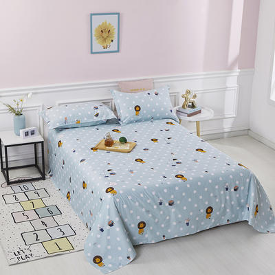 2020新款全棉印花单品床单 160cmx230cm 狮子王-蓝