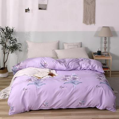2020新款全棉印花单品被套 150x200cm 清丽花香-紫