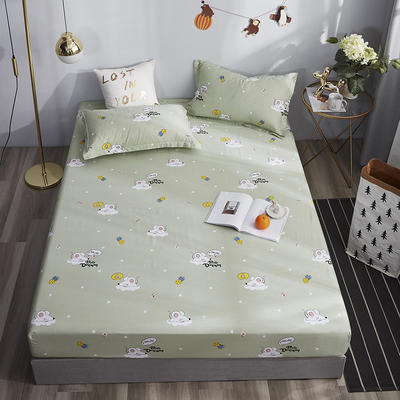 2020新款純棉床笠單品 150*200+30cm 夢幻童年-綠