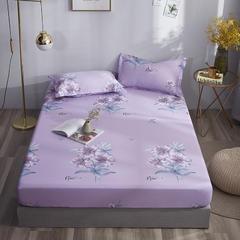 2020新款纯棉床笠单品 150*200+30cm 清丽花香-紫