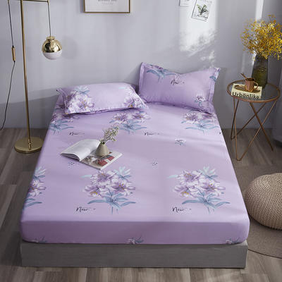 2020新款純棉床笠單品 150*200+30cm 清麗花香-紫
