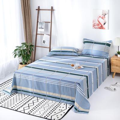 2020新款全棉印花单品床单 160cmx230cm 休闲时光-蓝