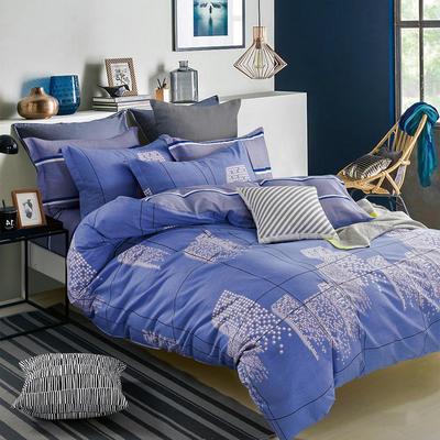 热款纯棉12868印花四件套网红款全棉三件套宿舍学生床被罩多规格可选 1.8m床四件套(标准款) 都市摩卡-蓝