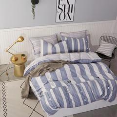 热款纯棉12868印花四件套网红款全棉三件套宿舍学生床被罩多规格可选 1.8m床四件套(标准款) 花间密语-蓝