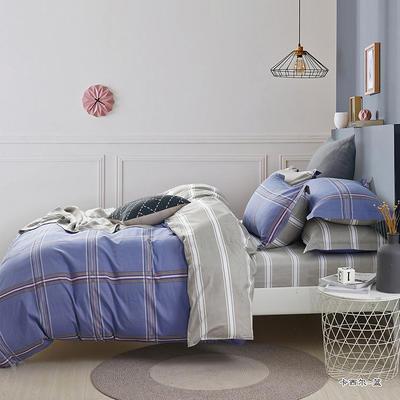 热款纯棉12868印花四件套网红款全棉三件套宿舍学生床被罩多规格可选 1.8m床四件套(标准款) 卡西尔-蓝