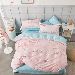热款纯棉12868印花四件套网红款全棉三件套宿舍学生床被罩多规格可选 1.8m床四件套(标准款) 开心鸭-粉