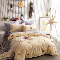 热款纯棉12868印花四件套网红款全棉三件套宿舍学生床被罩多规格可选 1.8m床四件套(标准款) 小蜜蜂-黄