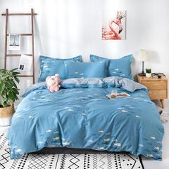 热款纯棉12868印花四件套网红款全棉三件套宿舍学生床被罩多规格可选 1.2m床三件套(1.5m被套) 海洋生活