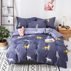 热款纯棉12868印花四件套网红款全棉三件套宿舍学生床被罩多规格可选 1.2m床三件套(1.5m被套) 青春年华-蓝