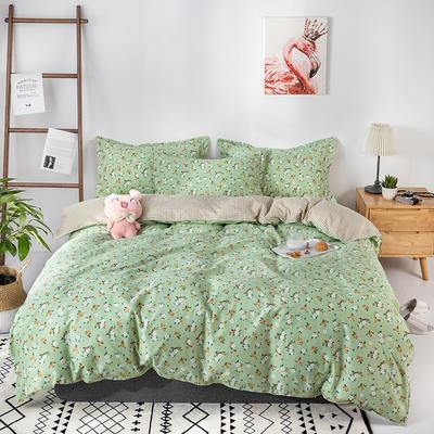 热款纯棉12868印花四件套网红款全棉三件套宿舍学生床被罩多规格可选 1.2m床三件套(1.5m被套) 薇香-绿