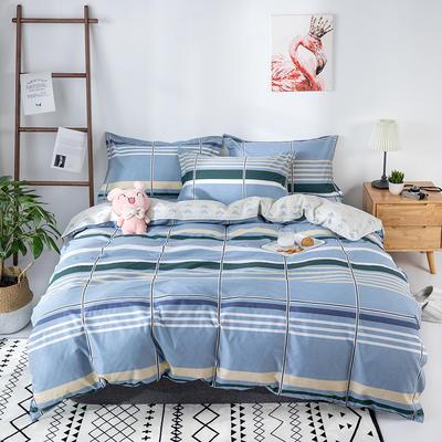 热款纯棉12868印花四件套网红款全棉三件套宿舍学生床被罩多规格可选 1.2m床三件套(1.5m被套) 休闲时光-蓝