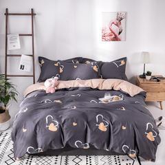 热款纯棉12868印花四件套网红款全棉三件套宿舍学生床被罩多规格可选 1.2m床三件套(1.5m被套) 永恒之恋