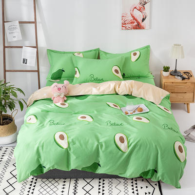 热款纯棉12868印花四件套网红款全棉三件套宿舍学生床被罩多规格可选 1.2m床三件套 牛油果