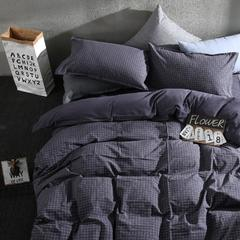 2018新款ins风格子水洗棉四件套 1.5m(5英尺)床 ins灰色水洗棉格子