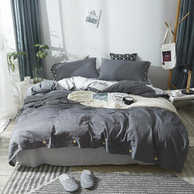 简约无印良品条纹全棉色织水洗棉四件套 1.2m(4英尺)床 纯色深灰