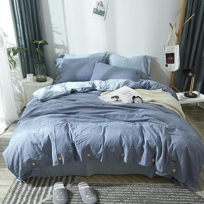 简约无印良品条纹全棉色织水洗棉四件套 1.2m(4英尺)床 纯色深兰