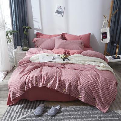 简约无印良品条纹全棉色织水洗棉四件套 1.2m(4英尺)床 豆沙条纹