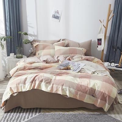 简约无印良品条纹全棉色织水洗棉四件套 1.2m(4英尺)床 粉大格