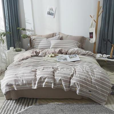 简约无印良品条纹全棉色织水洗棉四件套 1.2m(4英尺)床 灰色条纹