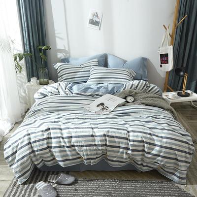简约无印良品条纹全棉色织水洗棉四件套 1.2m(4英尺)床 蓝色条纹