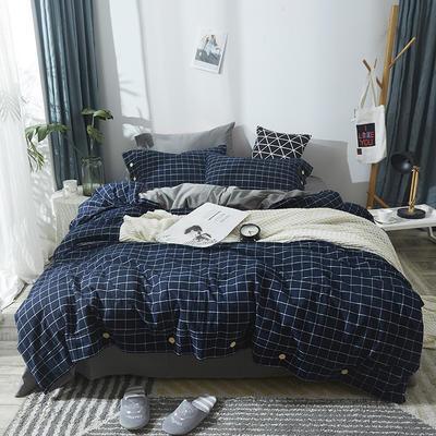 简约无印良品条纹全棉色织水洗棉四件套 1.2m(4英尺)床 蓝小格
