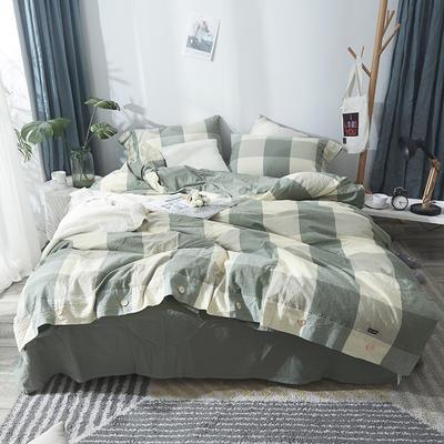 简约无印良品条纹全棉色织水洗棉四件套 1.2m(4英尺)床 绿大格