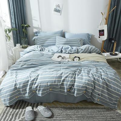 简约无印良品条纹全棉色织水洗棉四件套 1.2m(4英尺)床 浅蓝条纹