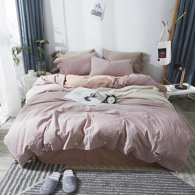 简约无印良品条纹全棉色织水洗棉四件套 1.2m(4英尺)床 深粉小格