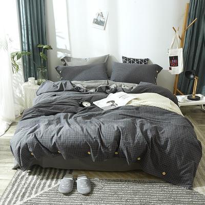 简约无印良品条纹全棉色织水洗棉四件套 1.2m(4英尺)床 深灰小格