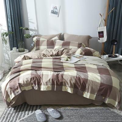 简约无印良品条纹全棉色织水洗棉四件套 1.2m(4英尺)床 棕大格