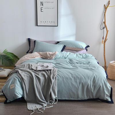2018新款简约无印良品风色织水洗臻彩棉磨毛四件套 1.2m床三件套 薄荷绿