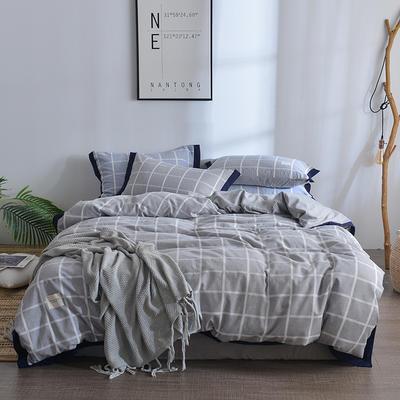 2018新款简约无印良品风色织水洗臻彩棉磨毛四件套 1.2m床三件套 灰白条格
