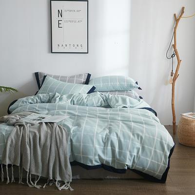 2018新款简约无印良品风色织水洗臻彩棉磨毛四件套 1.2m床三件套 蓝白格纹
