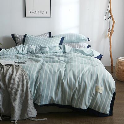 2018新款简约无印良品风色织水洗臻彩棉磨毛四件套 1.2m床三件套 蓝白条纹