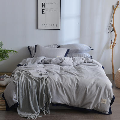 2018新款简约无印良品风色织水洗臻彩棉磨毛四件套 1.2m床三件套 浅灰细条