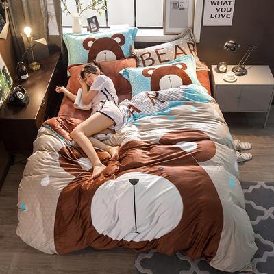 2018新款大版雕花绒四件套 1.8m(6英尺)床 大脸熊