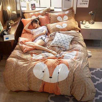 2018新款大版雕花绒四件套 1.8m(6英尺)床 小狐狸