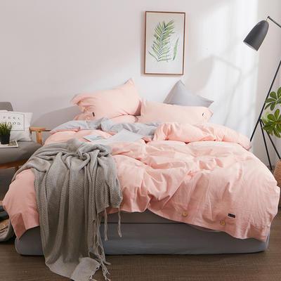 简约无印良品条纹全棉色织水洗棉四件套 1.2m(4英尺)床 玉色