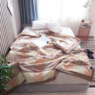 2019新款全棉色织水洗棉夏被 150x200cm 粉咖格