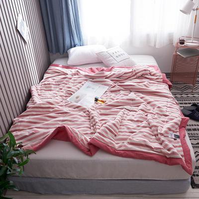 2019新款全棉色织水洗棉夏被 150x200cm 粉条纹