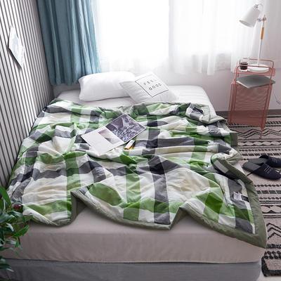 2019新款全棉色织水洗棉夏被 150x200cm 风尚格绿