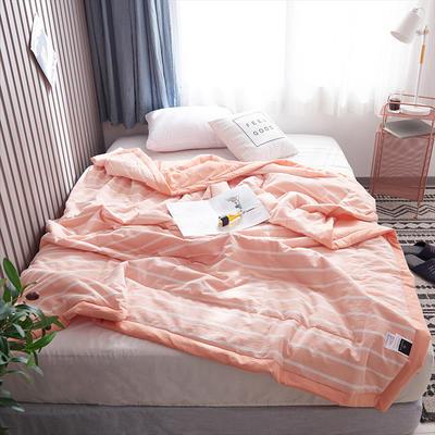 2019新款全棉色织水洗棉夏被 150x200cm 橘条纹