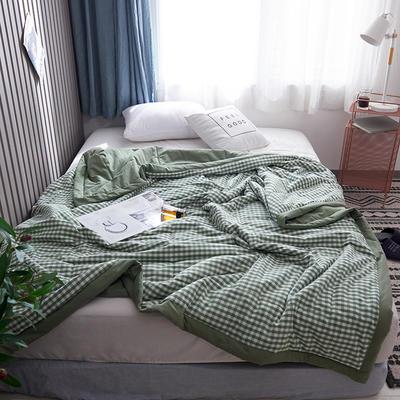 2019新款全棉色织水洗棉夏被 150x200cm 绿小格