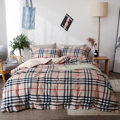 简约无印良品条纹全棉色织水洗棉四件套 1.2m(4英尺)床 巴洛克