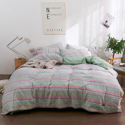 简约无印良品条纹全棉色织水洗棉四件套 1.2m(4英尺)床 彩条