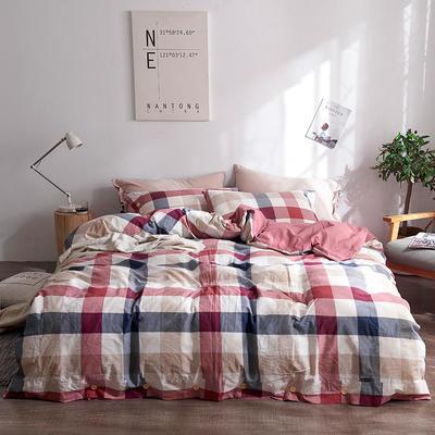简约无印良品条纹全棉色织水洗棉四件套 1.2m(4英尺)床 格韵