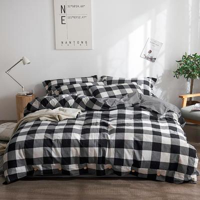 简约无印良品条纹全棉色织水洗棉四件套 1.2m(4英尺)床 黑白中格