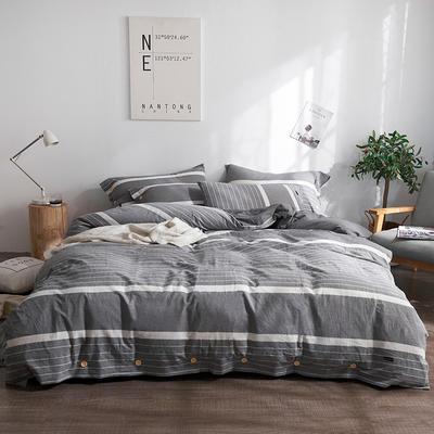 简约无印良品条纹全棉色织水洗棉四件套 1.2m(4英尺)床 英伦