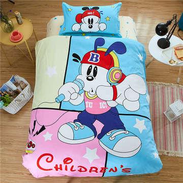 133x72全棉大版花三件套活性纯棉单人儿童卡通学生三件套